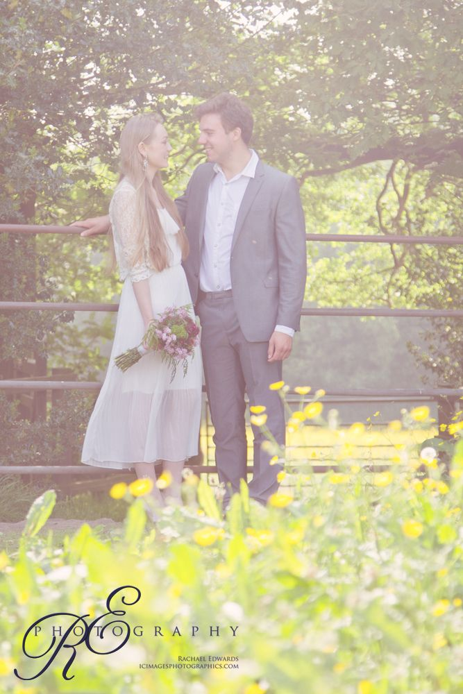 Bride and groom buttercup meadow #woodlandwedding