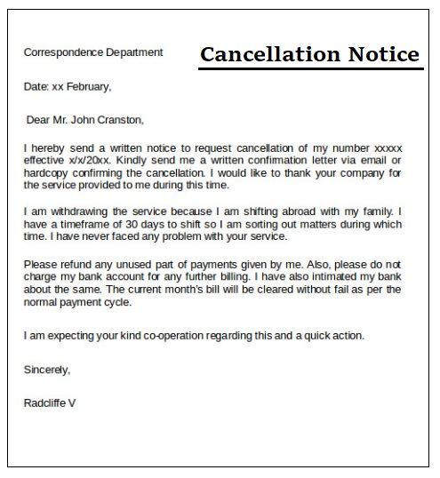 3 cancellation notice templates free printable pdf word 3 cancellation notice templates free printable pdf word sampleformats pinterest business correspondence template and free printable flashek Image collections