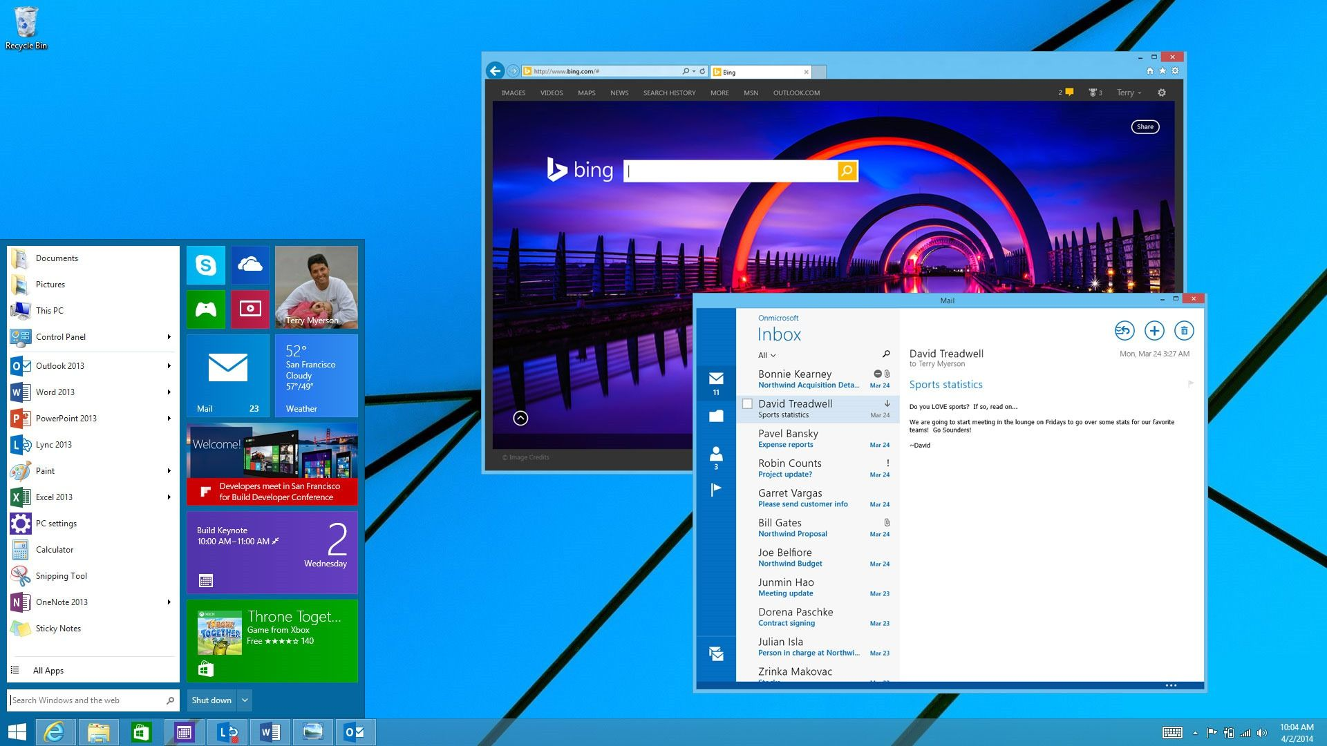 Windows 8.1's returning start menu looks super sleek and well-designed.