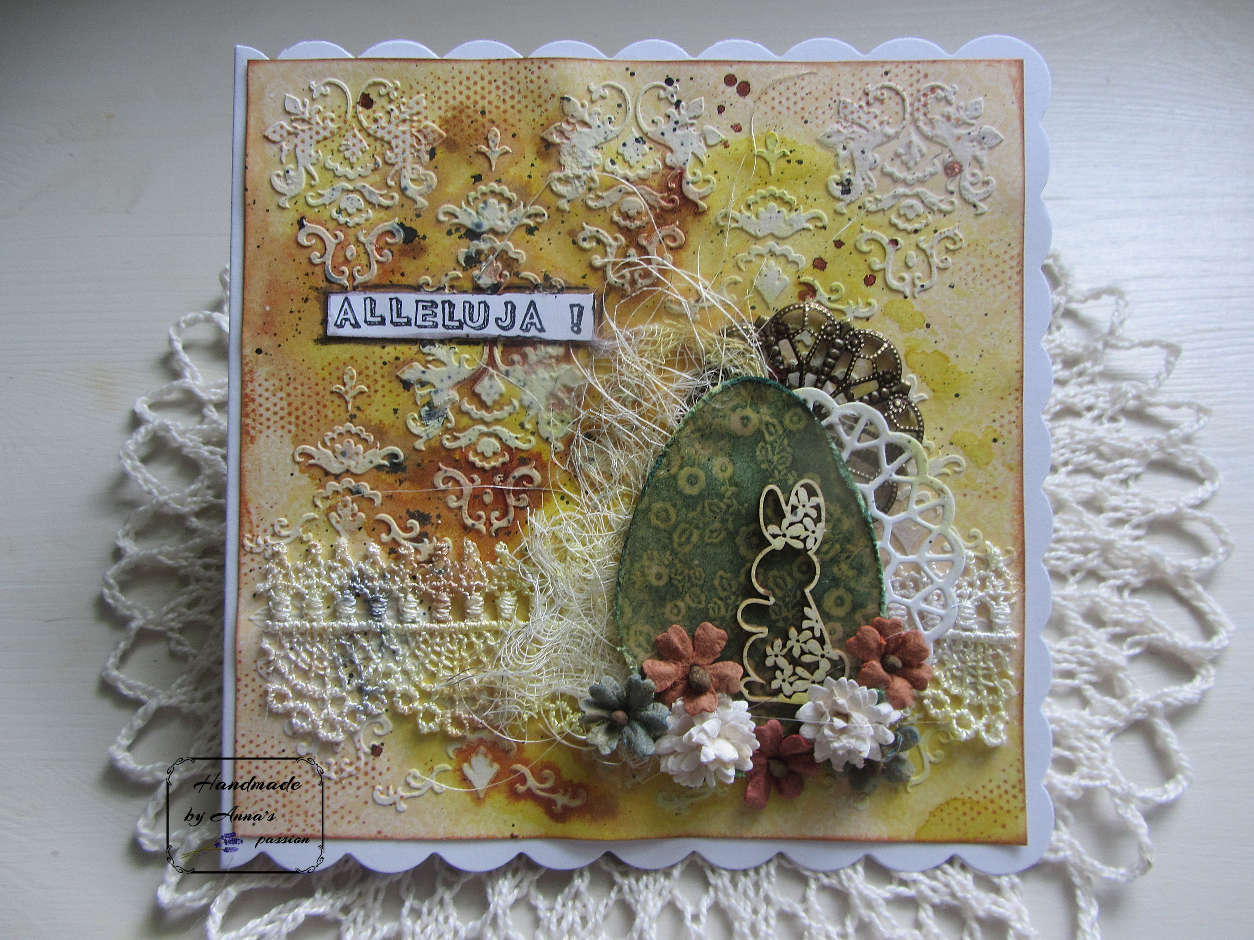 Mixed Media Easter card Mediowa kartka Wielkanocna  #mixedmedia #mixedmediaart #card #cardmaking #handmade #gesso #lindys #lindysstampgang #kaiser #kaisercraft #archivalink #ranger #thecraftersworkshop #tcwstencillove #tcw #lace #tackyglue #metalembellishment #fussycut #egg #scrapiniec #chipboards #paperflowers #49andmarket #diecut #doily #naturalsisal