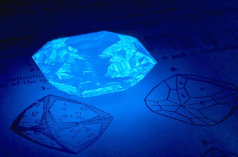 The Portuguese Diamond glows bright blue under fluorescent light.  Smithsonian.