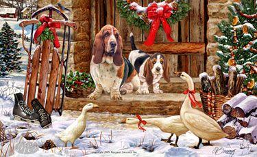 Basset Hound - Christmas Goose