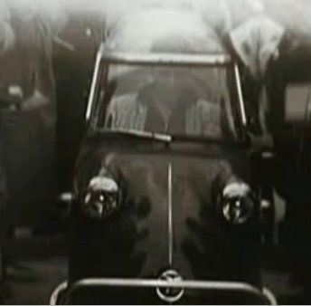 The diminutive 200cc Messerschmitt, with only 3 wheels, so emblematic of the German economy in the 1950s, trying to get on its feet, contrasts sharply with Detroit's rather large standard of the world that sported tailfins, dagmar bumpers & lots of chrome. Like many of his cars, Elvis didn't leave it stock, apparently having some custom work done on the 3-wheeler. It's not known exactly how he got it, but in 1956 Elvis was photographed with his Messerschmitt KR200.