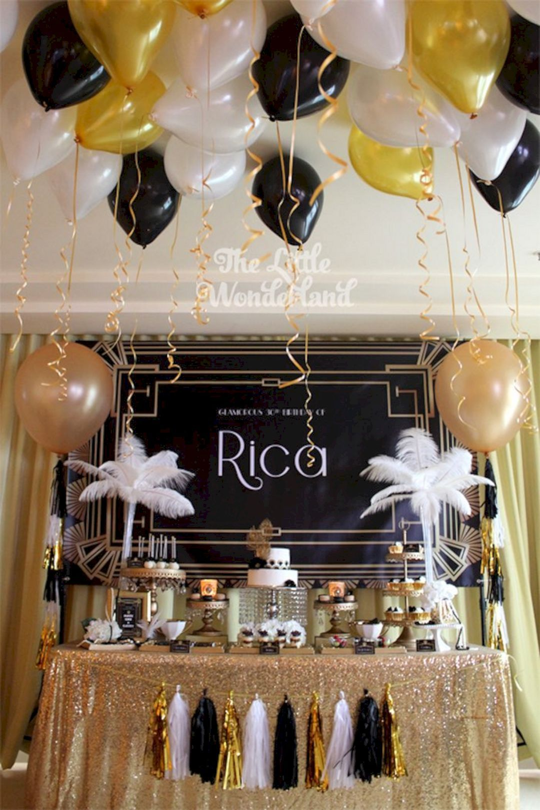 Great gatsby themed birthday party ideasbirthday table decorations th also best images st parties ts rh pinterest