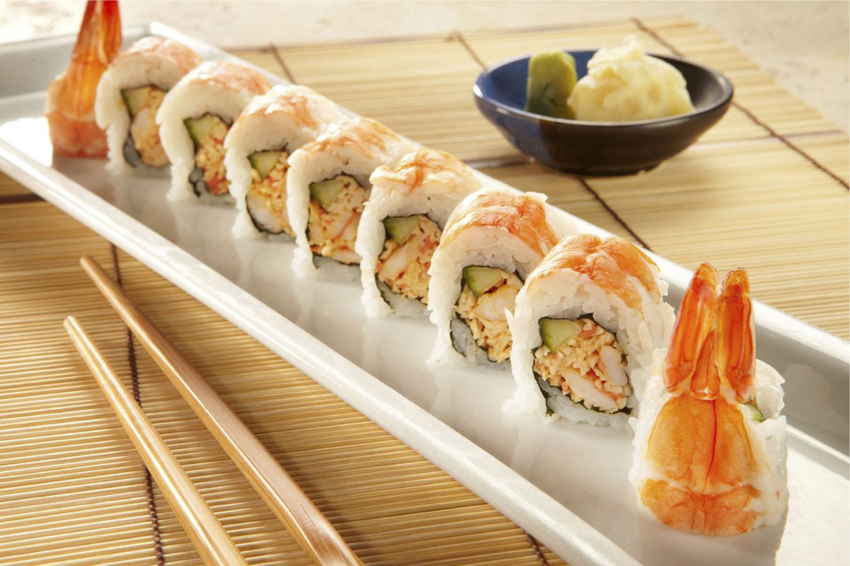 Spicy shrimp & cucumber rolled topped with shrimp.