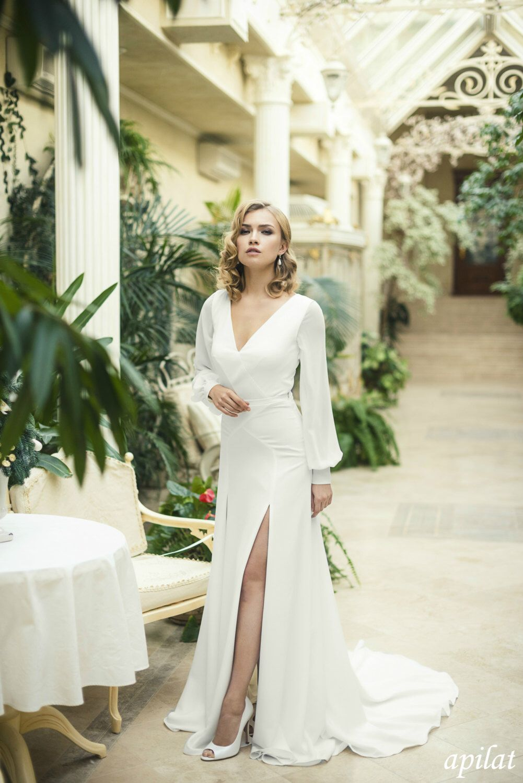 Ivory crepe open back wedding dress and handmade embellishments