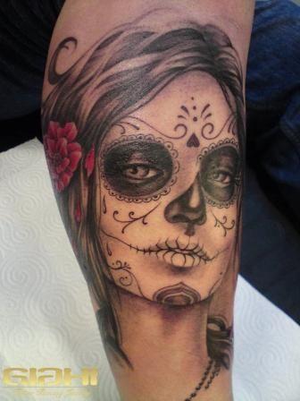 Mexican Woman Head Tattoo On Arm Tattoo