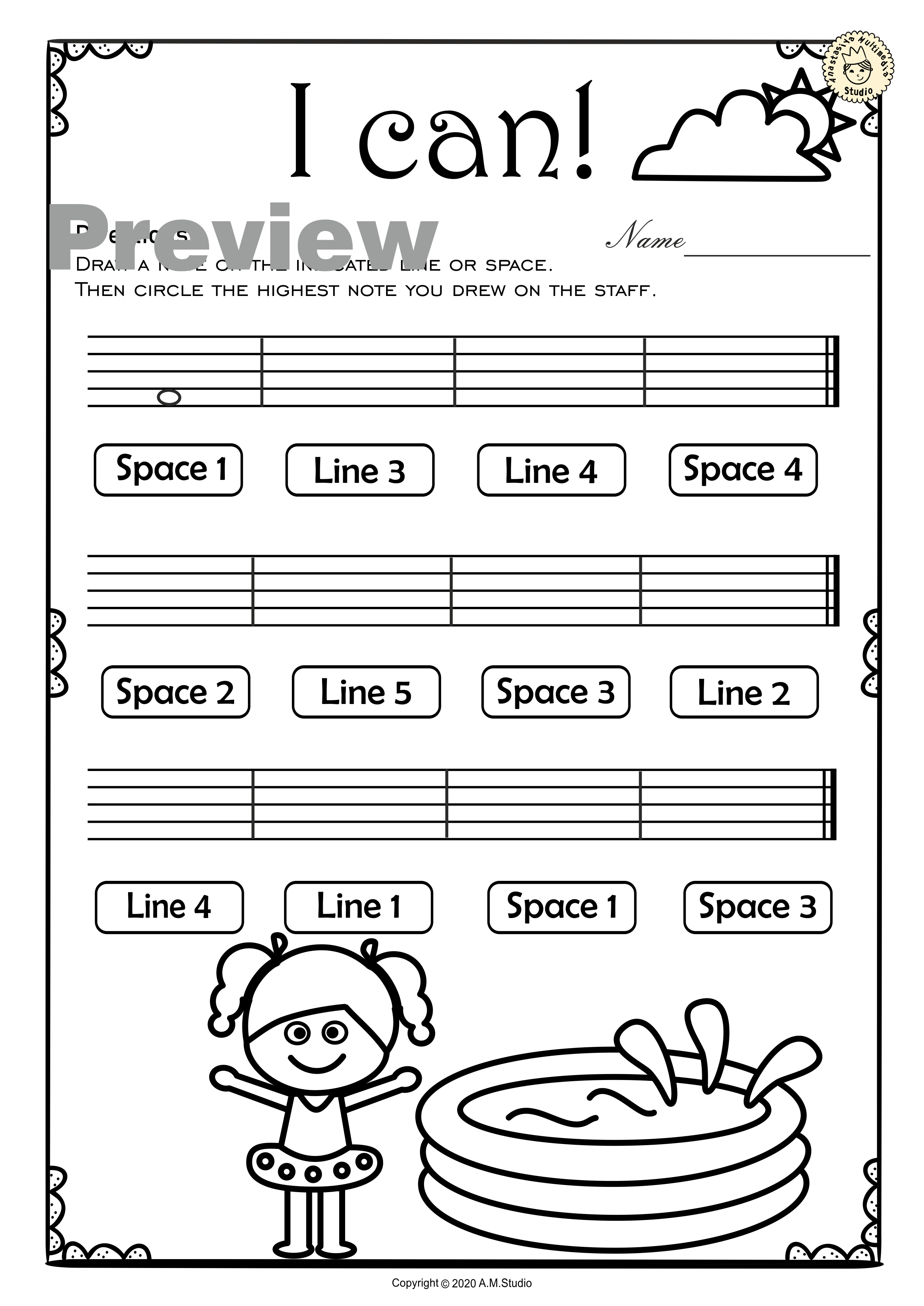 Summer Music Worksheets Lines Spaces High Low