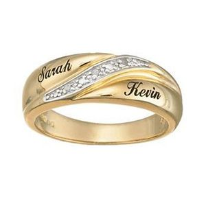 Mens 18k Gold Plate Silver Diamond Accent Script Wedding Band 2 Names Personalized