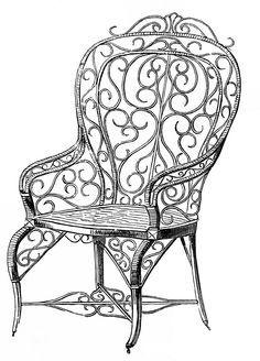 Vintage Clip Art Wicker Garden Chair