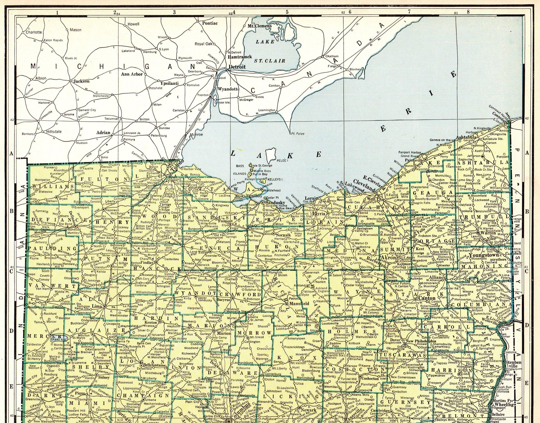 Perrysville Ohio Map.1937 Rare Size Antique Ohio State Map Poster Size Vintage Ohio