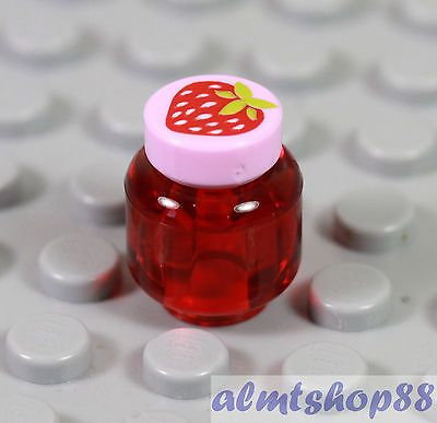 Strawberry Jam LEGO Trans Red Jar Pink Jelly Kitchen Food Friends Minifigure