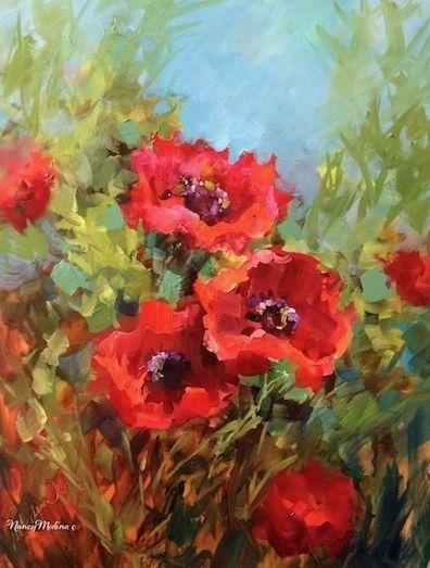 Mountain Song Poppies by Nancy Medina Oil ~ 16 x 12 www.nancymedina.com
