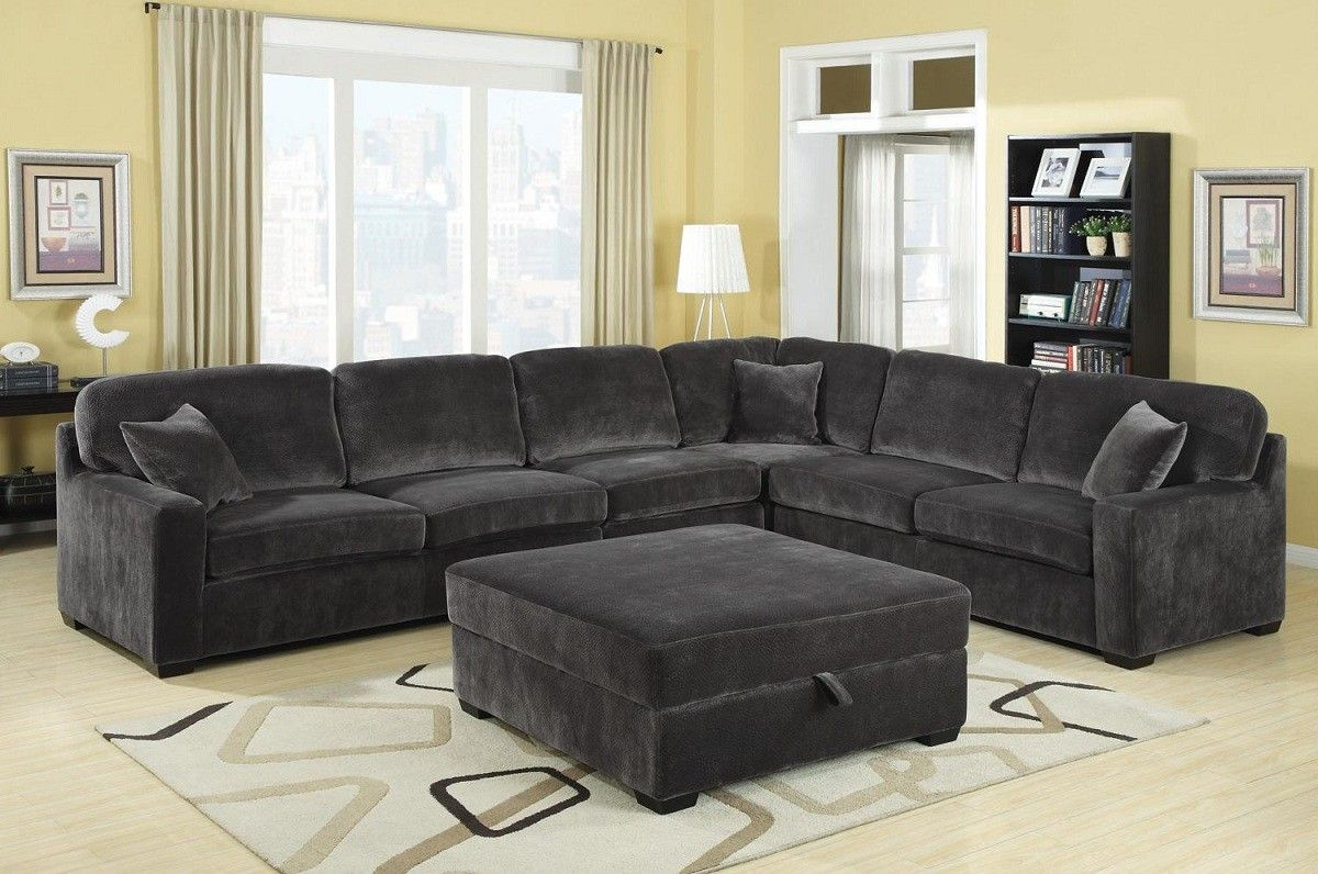 Modern Contemporary Charcoal Grey Textured Padded Velvet Oversize Sectional