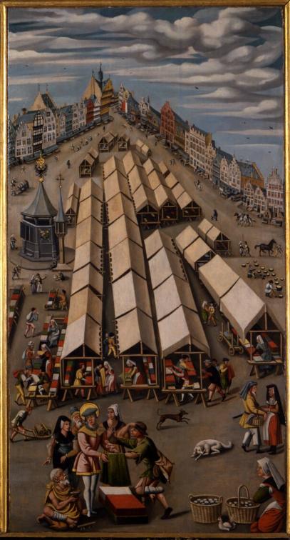 Anoniem, De lakenmarkt van 's-Hertogenbosch (ca. 1530).
