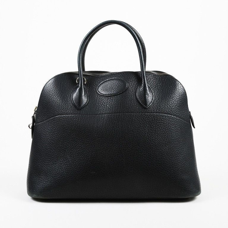 27bdef46e8 Hermes Black Clemence Leather Top Handle