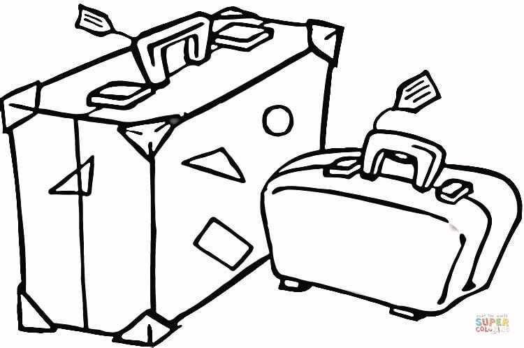 Suitcase To Travel Coloring Page Jpg 750 498 Travel Essentials