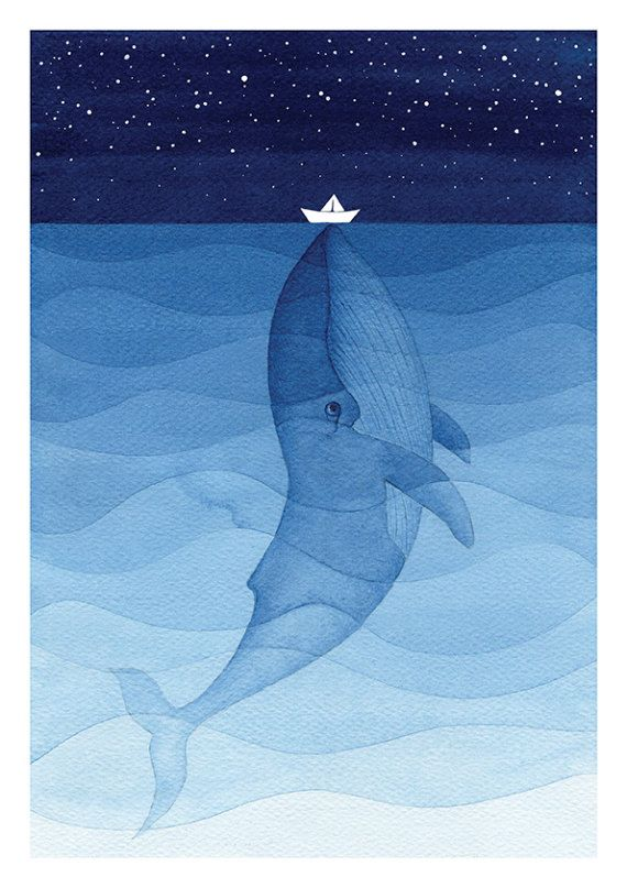 Blue whale print giclee wall hanging nautical art wall decor painting watercolor nursery kids illustration sea creature #blue