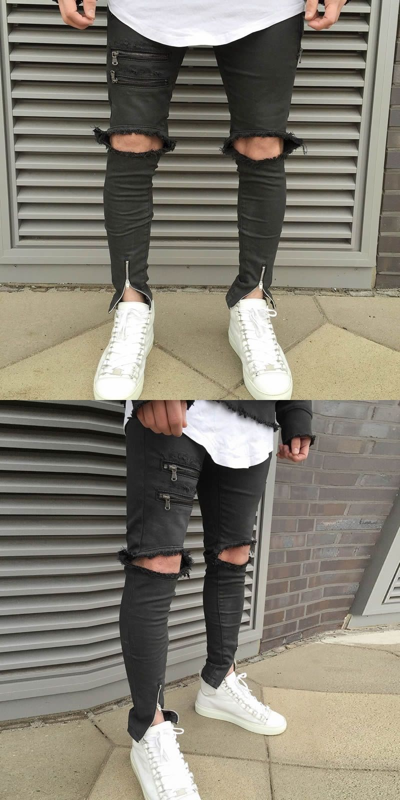 404b796666b NEW Retro Men Hip Hop Zipper Ripped Biker Jeans Zipper Hole Rap Skinny  Motorcycle Jeans Men