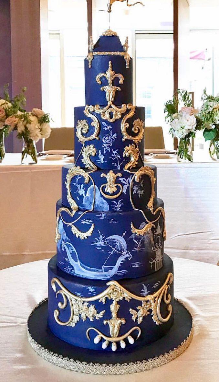Cake! Blue & Gold Wedding cake designs