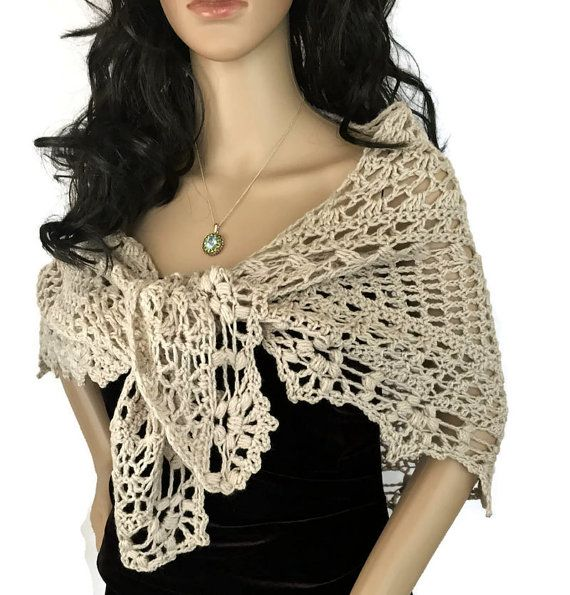 Outlander Beige Lace Shawl Claire Diana by WhispersintheGlen