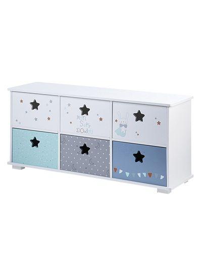 70 4510030 meuble de rangement 6 bacs super doudou blanc imprime