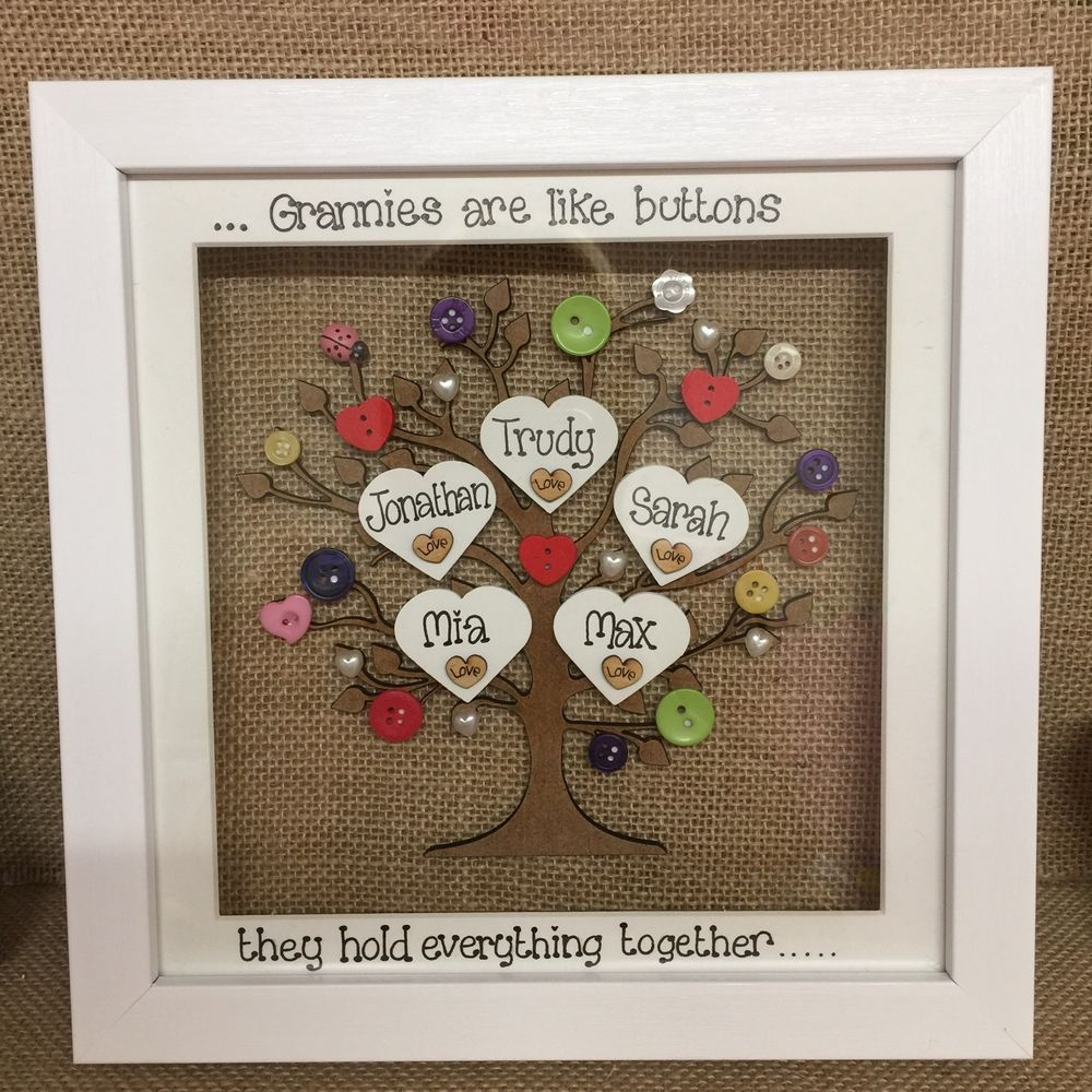 Unique Personalised Deep Box Frame Family Tree Mothers Day Mum Nana ...