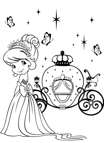 Strawberry Shortcake And Magical Carriage Coloring Page Princess Coloring Pages Coloring Pages Cute Coloring Pages