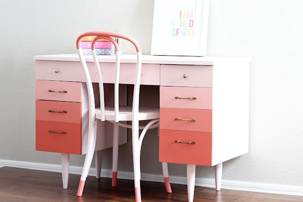 Painted Ombre Desk in Pinks