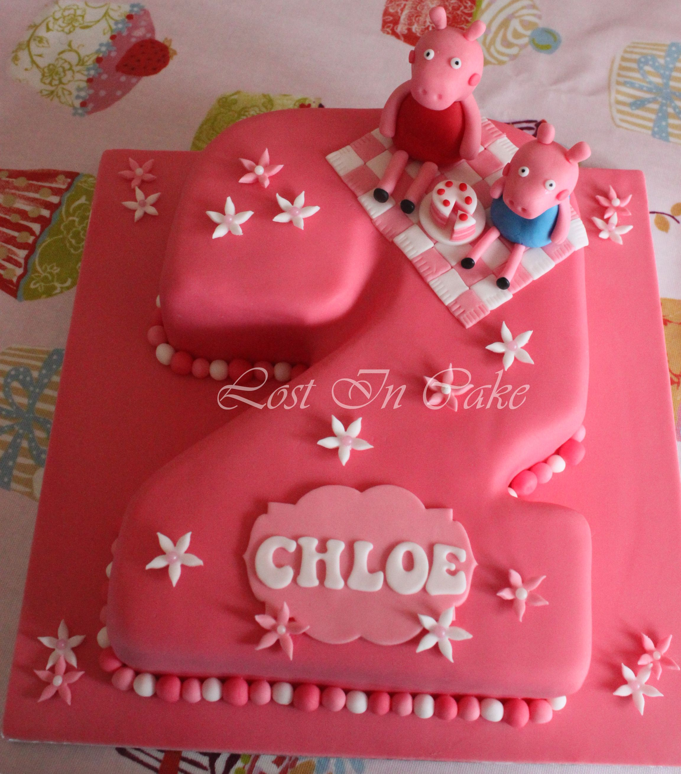 Pink Peppa Pig Number 2 Shaped Cake Lovers Of Cake Decorating