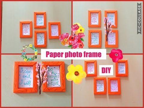 How to make paper frame. Photo frame DIY. Wall decoration. Home ...