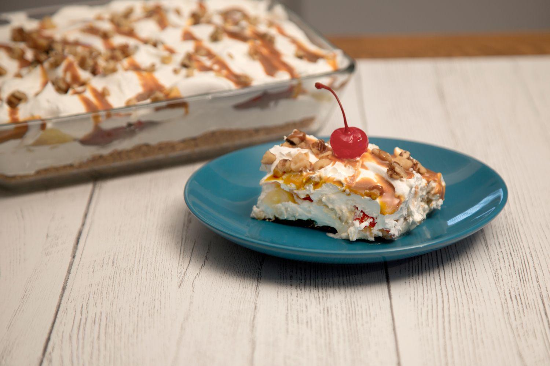 No Bake Banana Split Cake Recipe Banana Split Dessert Desserts Banana Split Cake