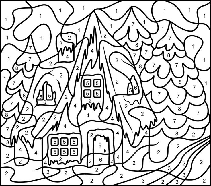 christmas house coloring page has 3 versions of the same image pick which one u like color by number printables