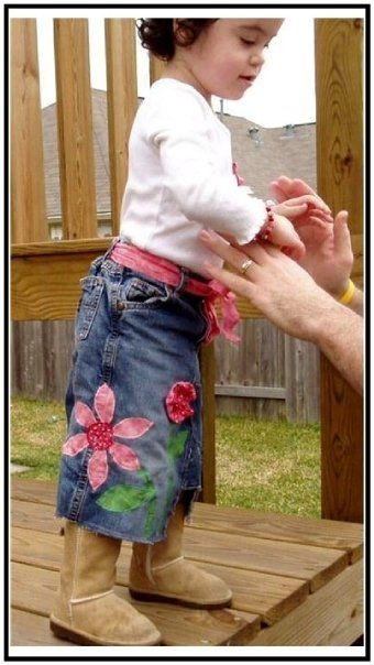 I LOVE upcycling jeans into cute skirts!