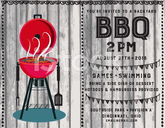 Family Reunion BBQ horizontal Invitation Template on a grey wood - bbq invitation template