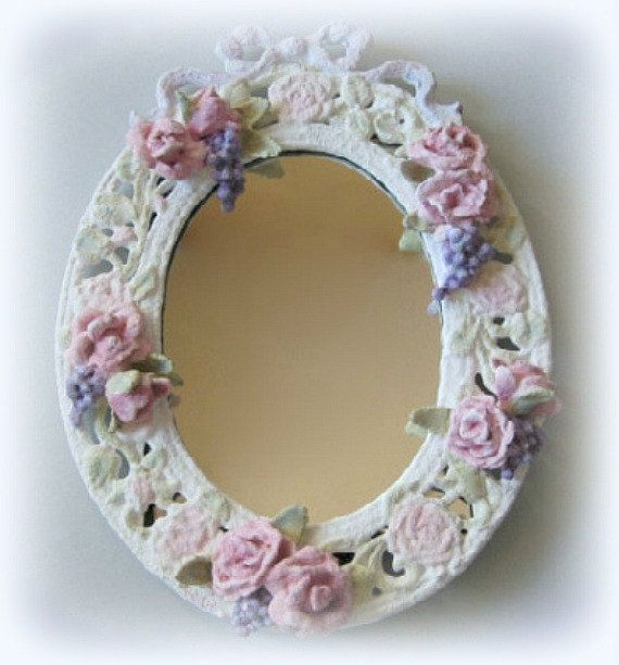 wall mirror framed mirror white mirror flower mirror shabby chic