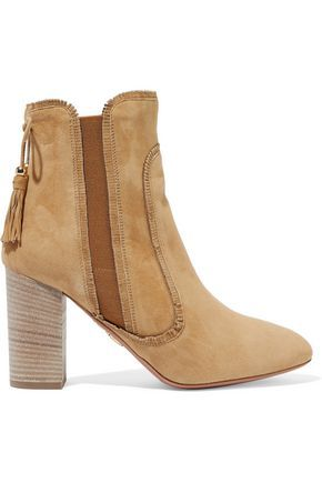 Aquazzura Woman Tristan Fringed Suede Ankle Boots Tan Size 36