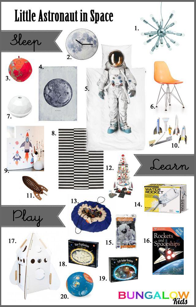 Kids Astronaut room with the SNURK astronaut duvet and Kidsonroof rocket, swoop bag, kikkerland moon clock, tenika space and more!