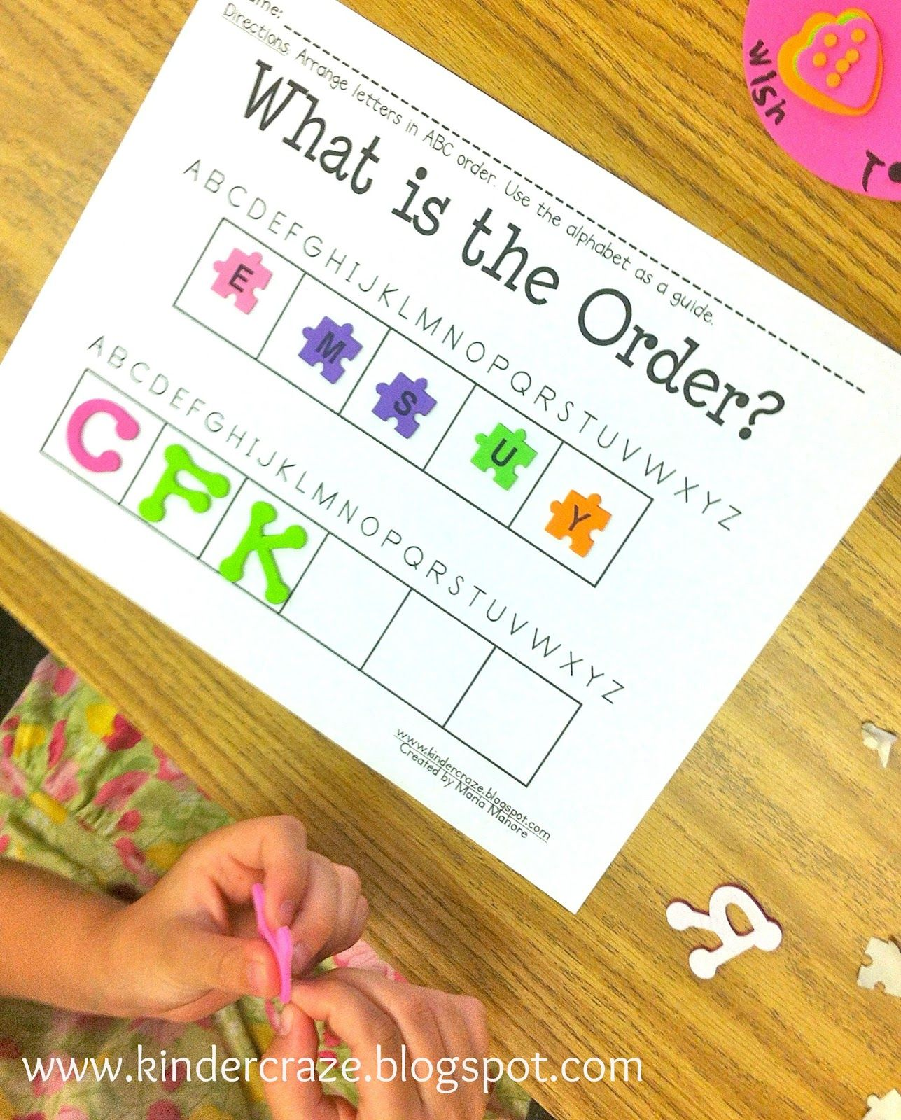 ABC Order Use foam letters to introduce ABC order. Blog post includes a free download of this activity.