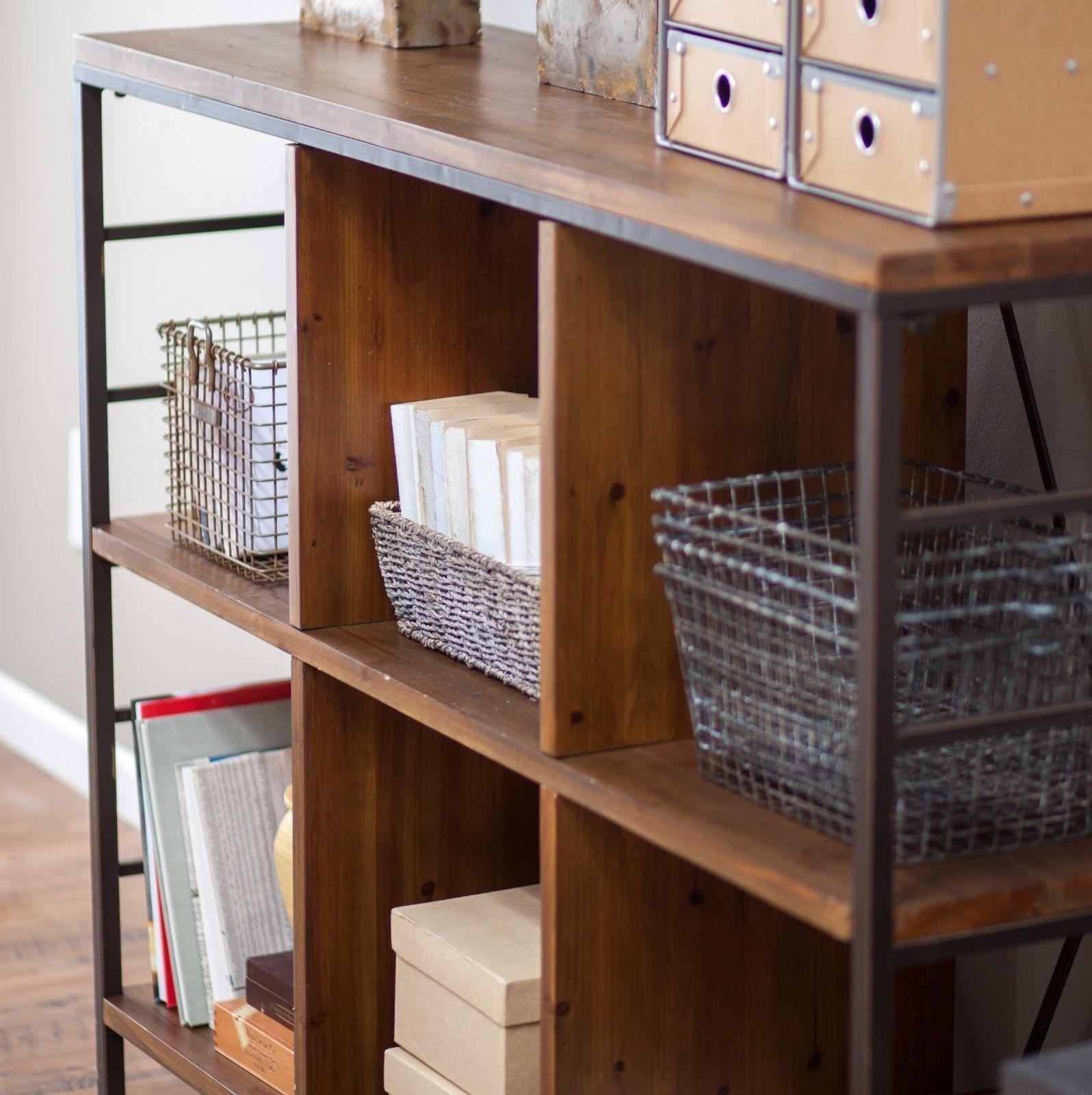 6 Cube Bookcase Bookshelf Rustic Bronze Storage Organizer Display Cabinet
