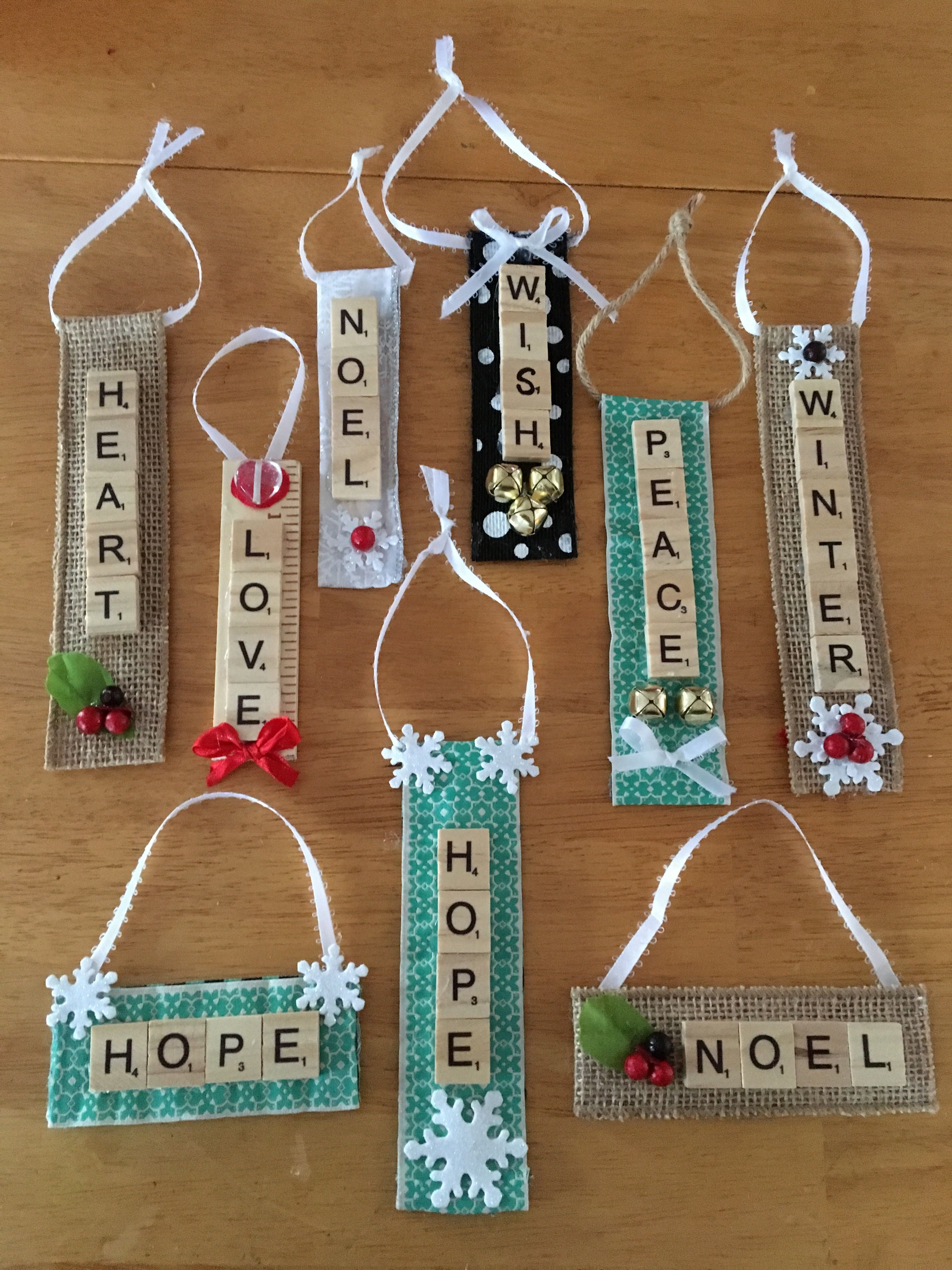Scrabble Tile Ornaments Used Fabric. Christmas