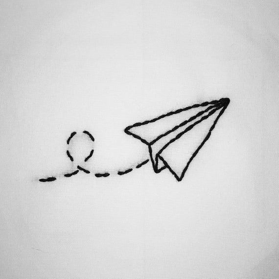 Hand embroidered paper plane 100% cotton t-shirt