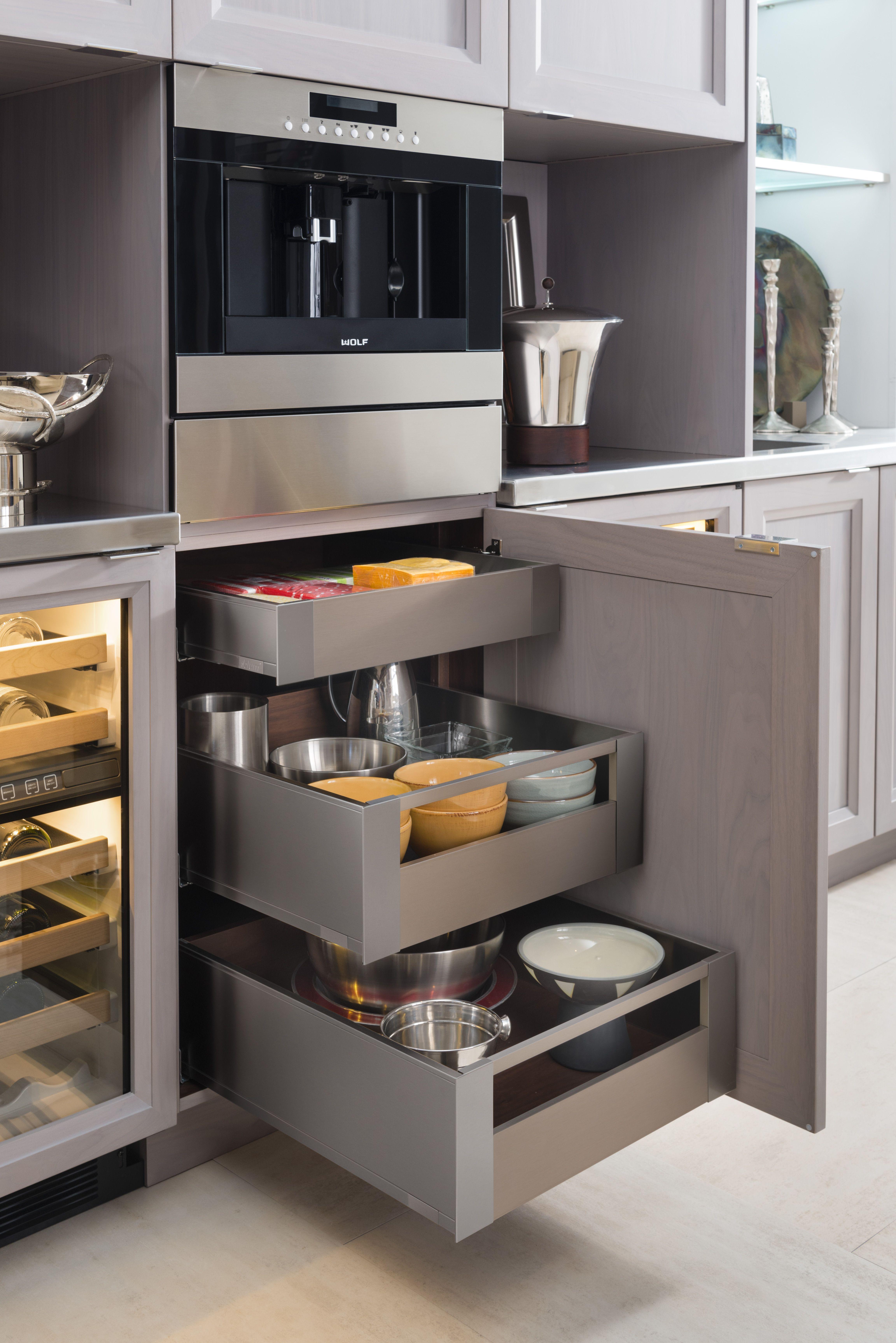 Luxury Kitchen Interior Design: Interior Storage Drawers Within The Contemporary Wood-Mode