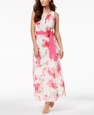 f6420c23dd0050 Jessica Howard Petite Belted Floral-Print Maxi Dress - Pink 12P ...