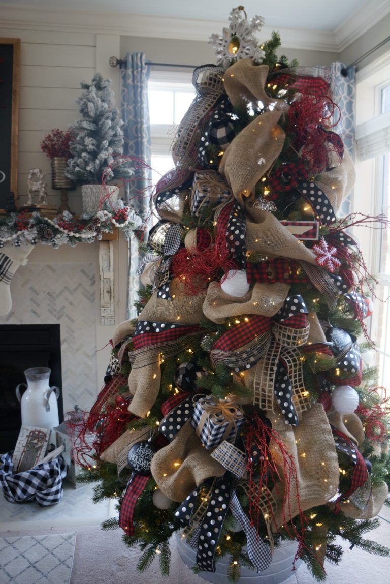 My Buffalo Check Inspired Christmas Living Room Learn How To Have A Beautiful Tree And Fireplace This Holiday Season Ribbon On Christmas Tree Best Christmas Tree Decorations Buffalo Check Christmas Decor