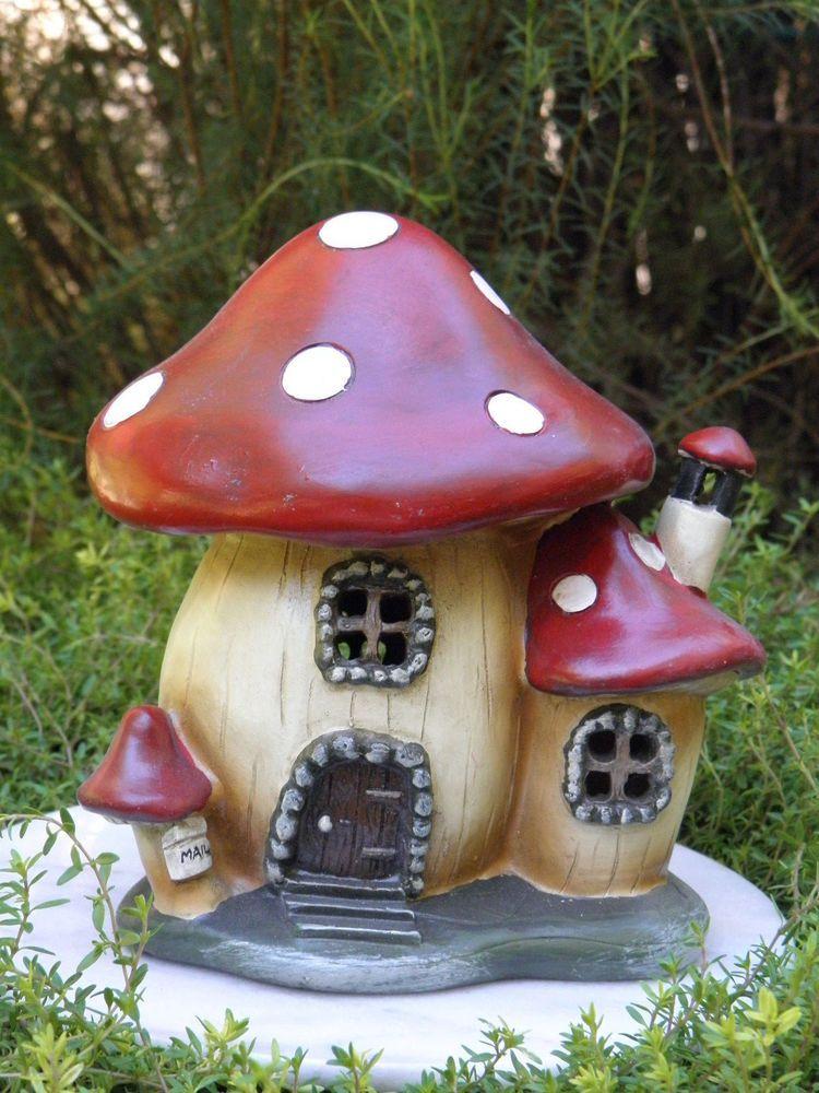 Miniature Dollhouse FAIRY GARDEN Gnome ~ Mushroom House Cottage With Light  ~ NEW