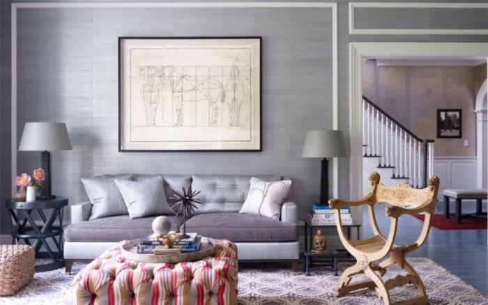 WohnzimmerWohnzimmer Ideen Mit Grauem Sofa Grau Wohnzimmereinrichtung Cooler Stuhl Wohnzimmer