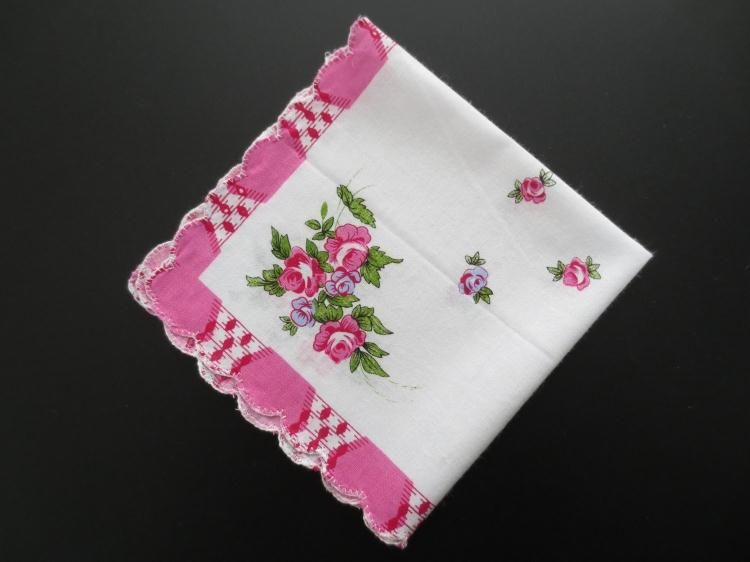 1960s good vintage condition old fabric handkerchiefs cotton fabric and flower pattern Vintage handkerchiefs used handkerchiefs