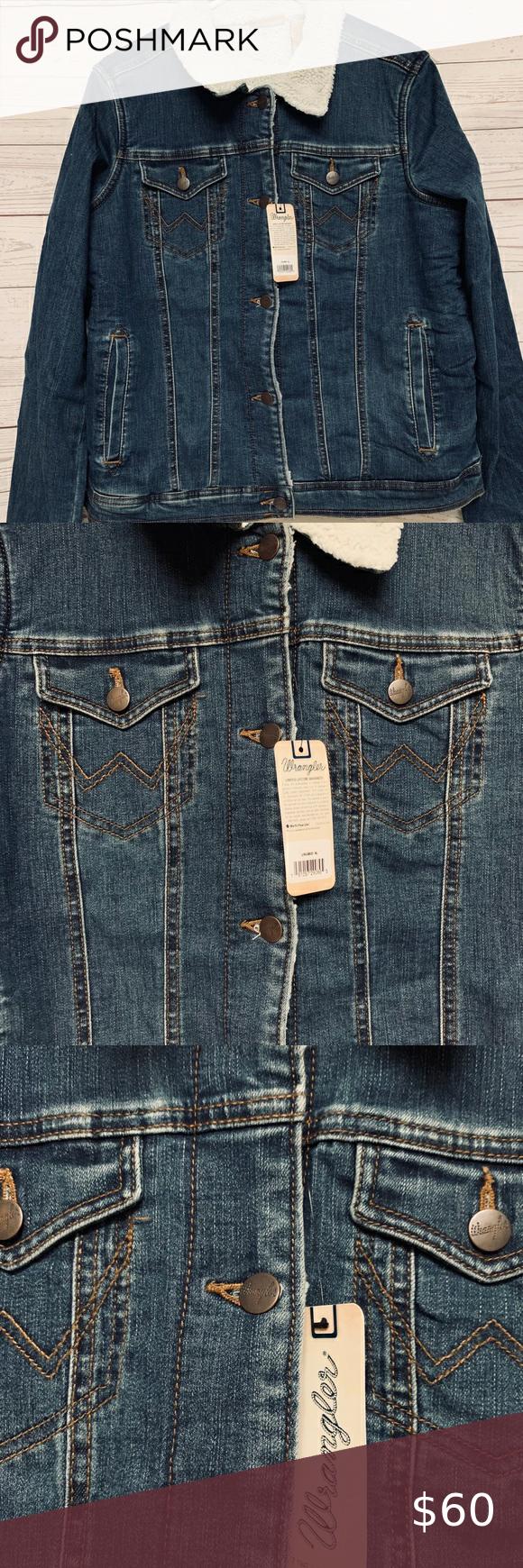 Wrangler Sherpa Jean Jacket Super Cute And New With Tags Wrangler Denim Sherpa Jacket Size Extra Vintage Denim Jacket Vintage Wrangler Jeans Fitted Jean Jacket [ 1740 x 580 Pixel ]