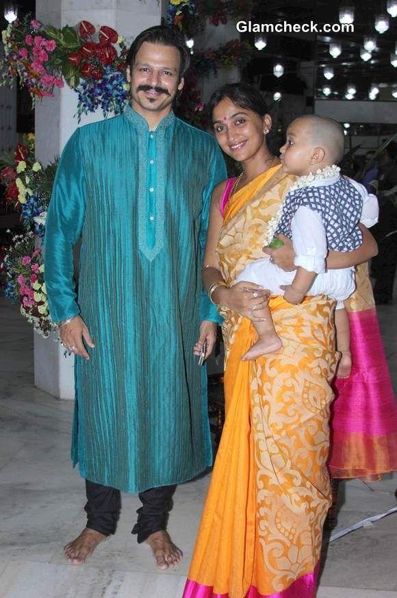 Vivek Oberoi along with his wife Priyanka Alva and son ...